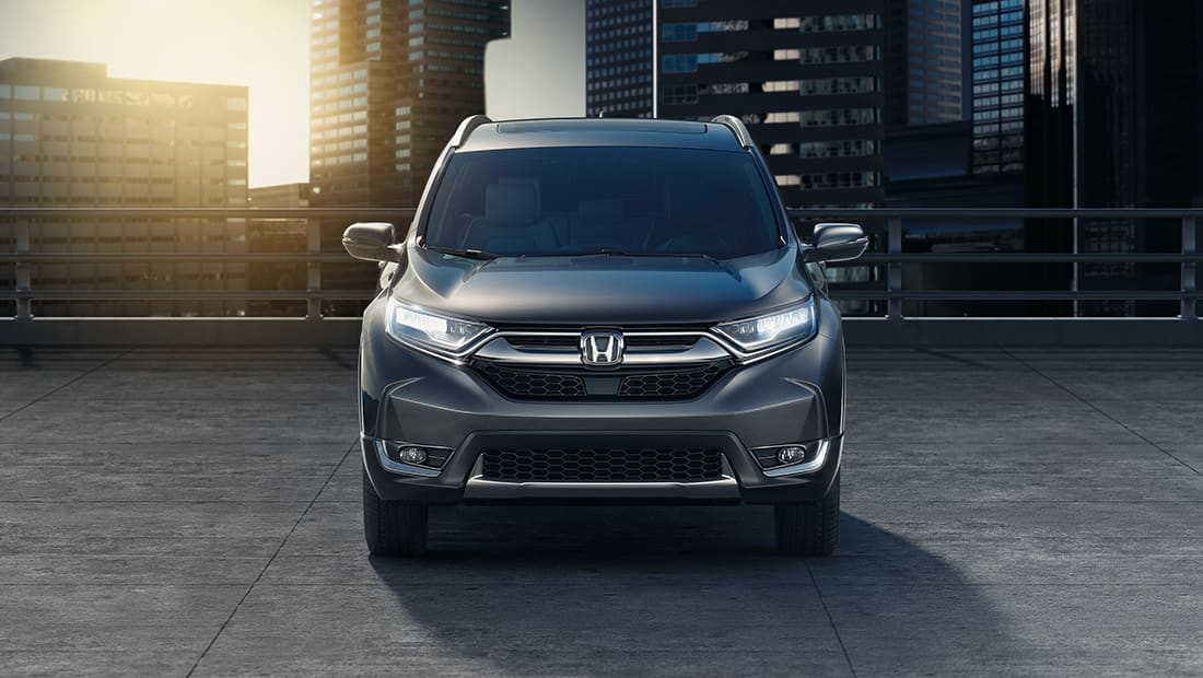 Front view of 2019 Honda CR-V Touring in Gunmetal Metallic.