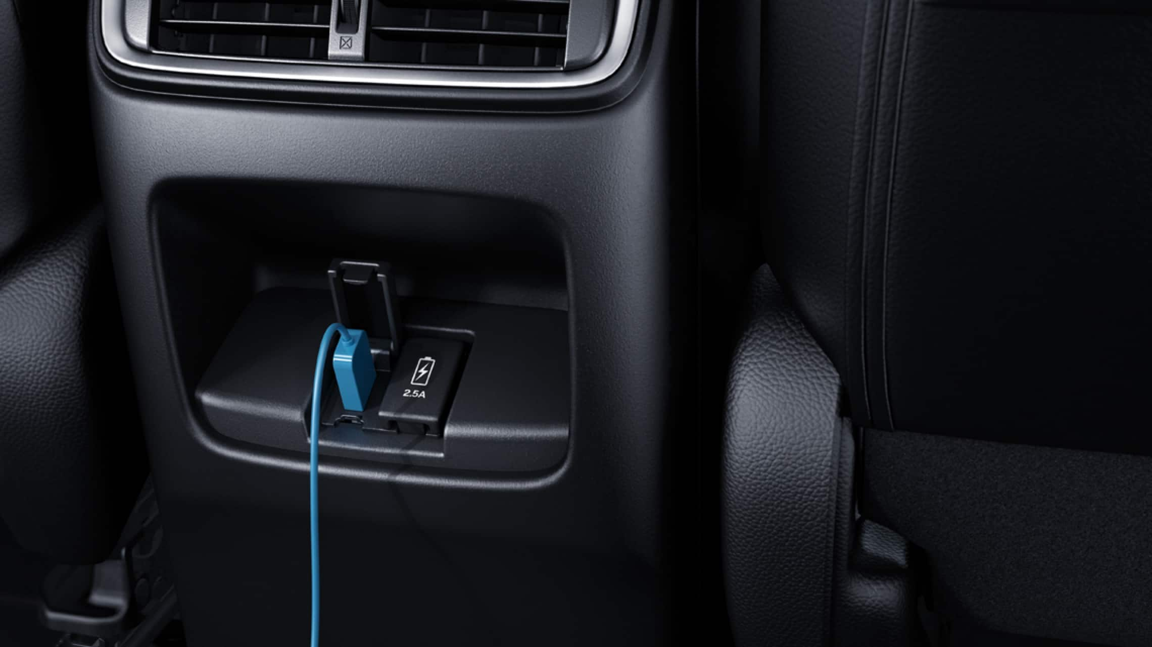 Interior view of rear USB ports in the 2019 Honda CR-V.