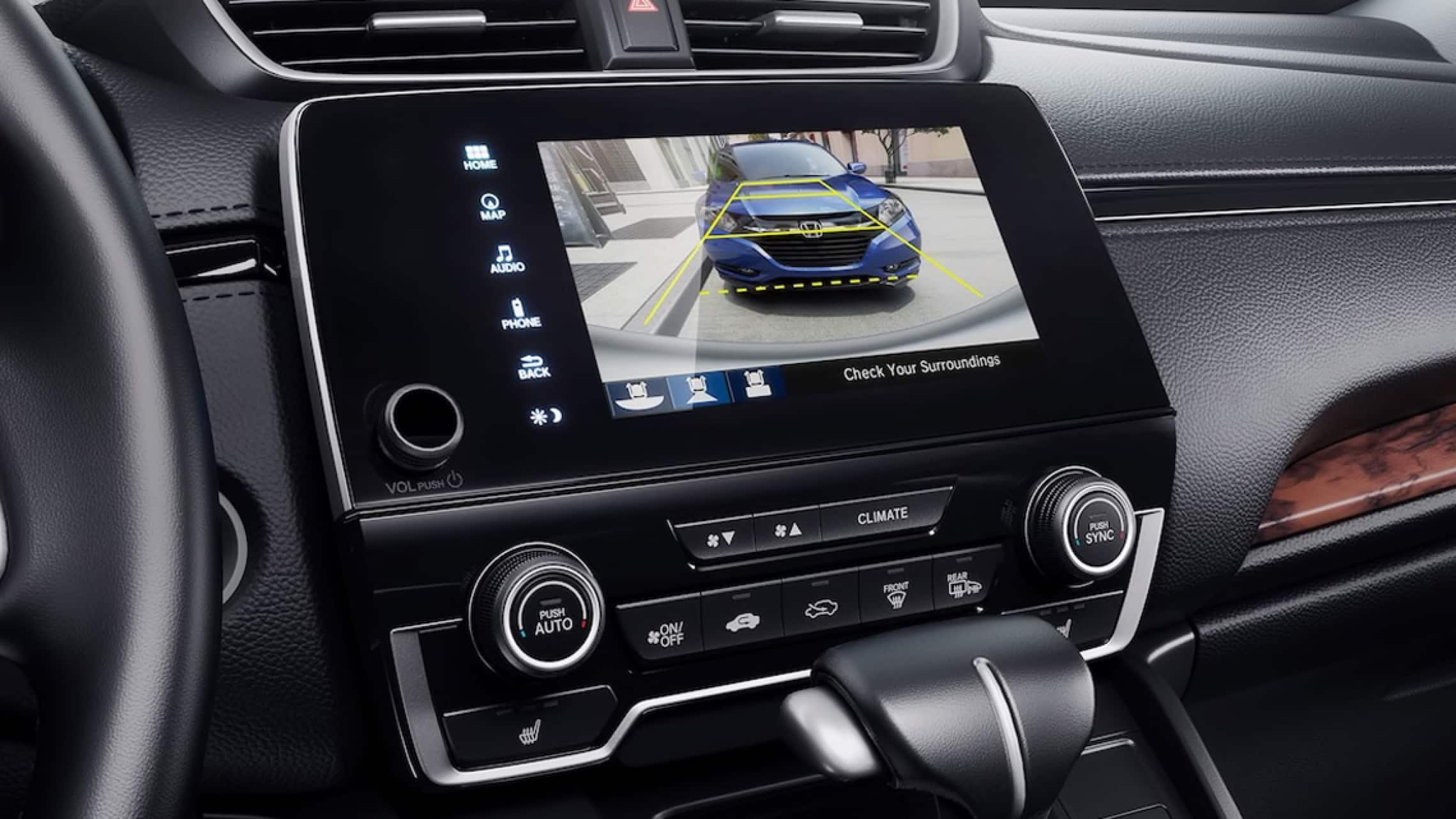 Display Audio touch-screen showing multi-angle rearview camera.