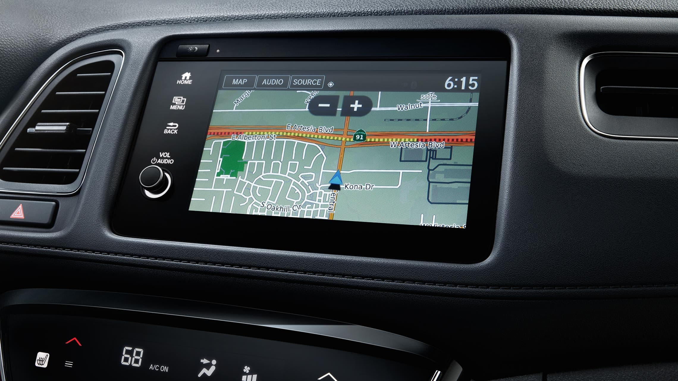Honda Satellite-Linked Navigation System™ detail on Display Audio touchscreen in the 2019 Honda HR-V Touring.