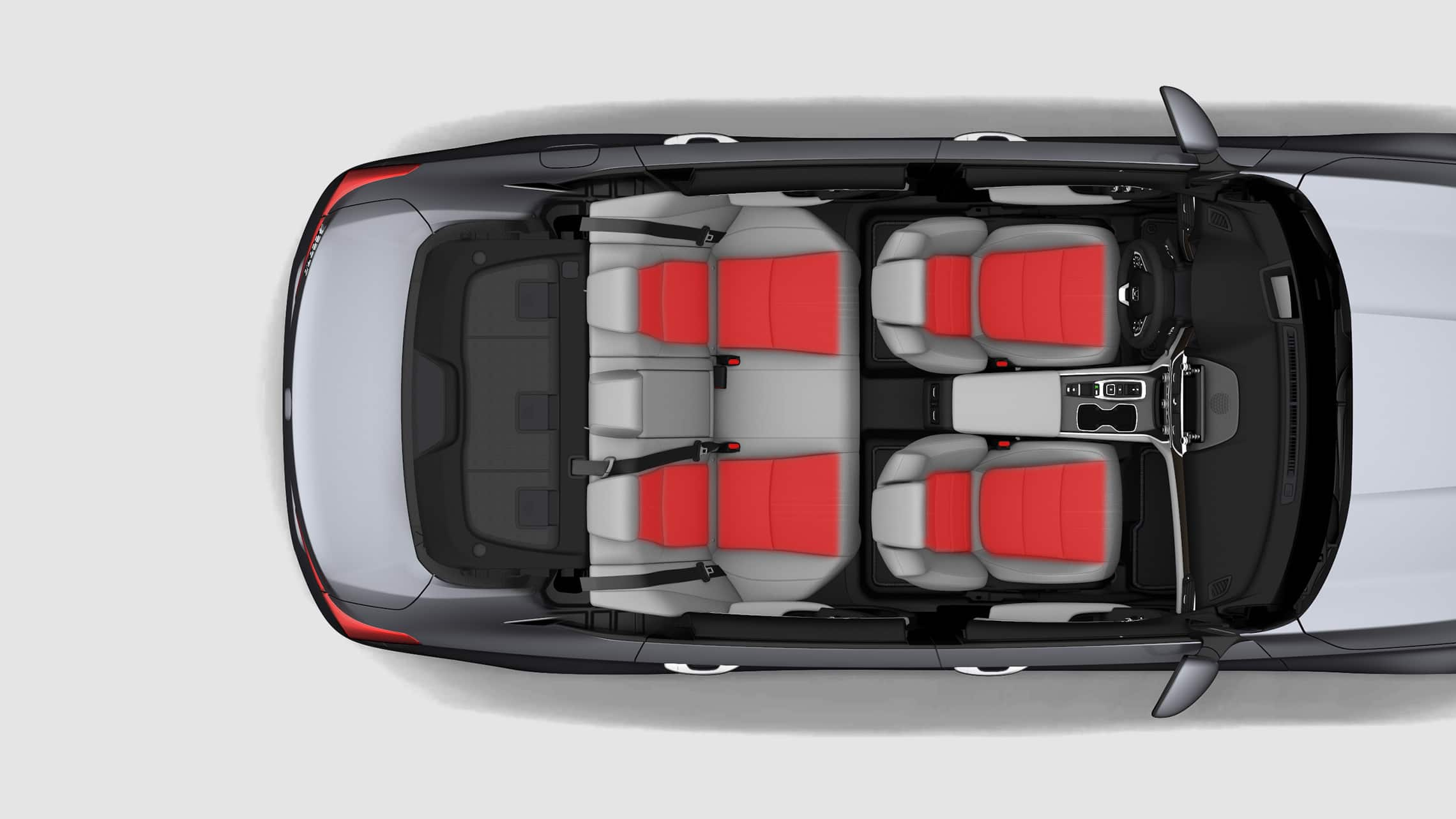 Overhead interior view of the 2020 Honda Accord Touring 2.0T with illustrated temperature waves showing heated front seats and rear outboard seats.