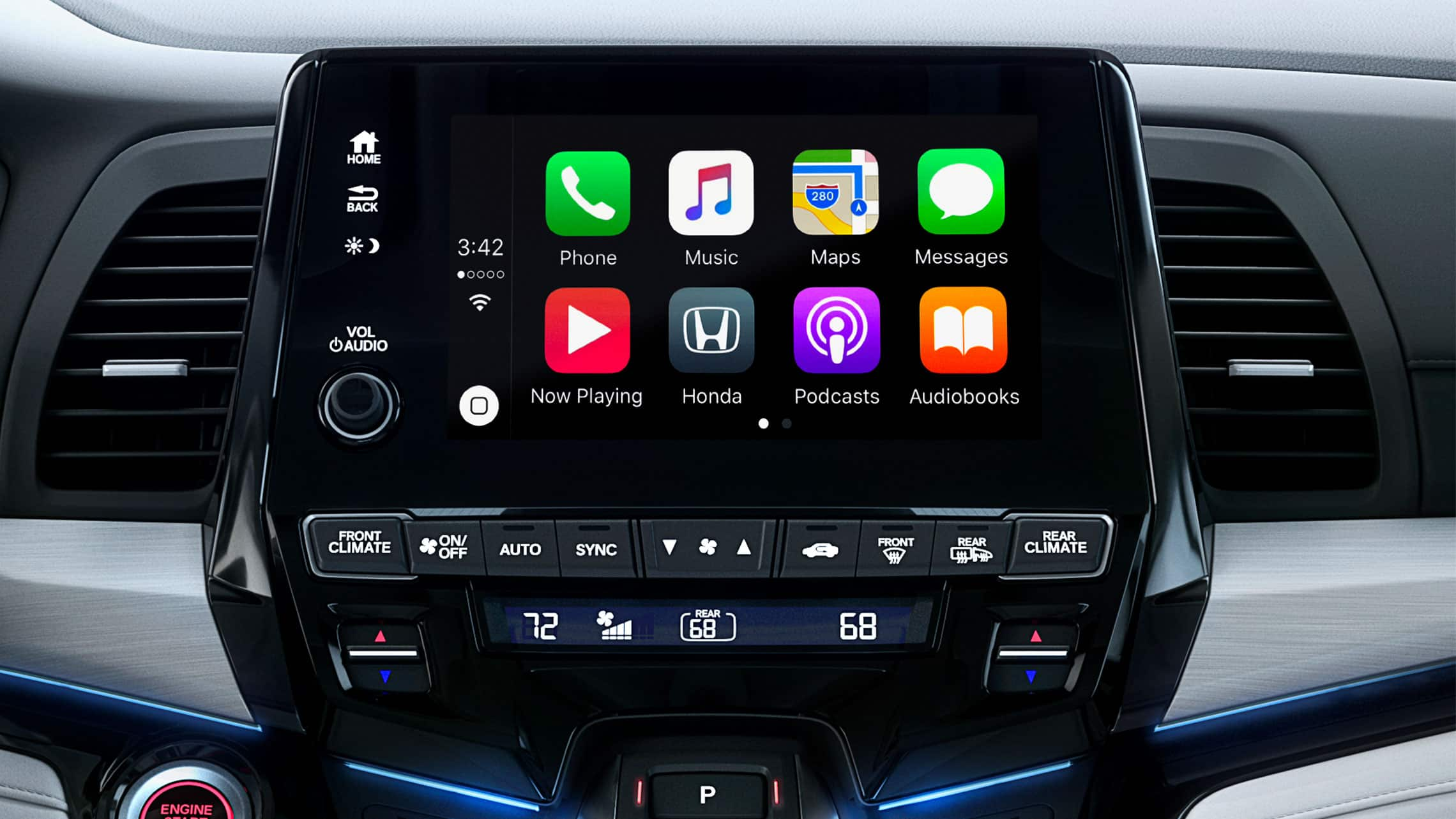 Apple CarPlay® detail on Display Audio touch-screen in 2020 Honda Odyssey Elite with Gray Leather.